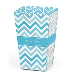 Chevron Blue - Personalized Party Popcorn Favor Treat Boxes - Set of 12