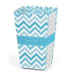 Chevron Blue - Personalized Party Popcorn Favor Treat Boxes
