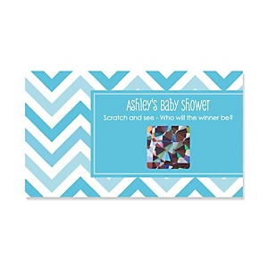 Chevron Blue - Personalized Baby Shower Game Scratch Off Cards - 22 ct