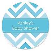 Chevron Blue - Personalized Baby Shower Sticker Labels - 24 ct