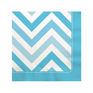 Chevron Blue - Party Beverage Napkins - 16 ct