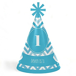 Chevron Blue - Personalized Cone Happy Birthday Party Hats for Kids and Adults - Set of 8 (Standard Size)