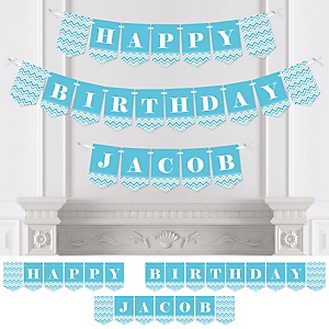 Chevron Blue - Personalized Birthday Party Bunting Banner & Decorations