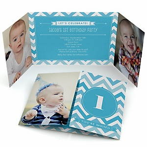 Chevron Blue - Personalized Birthday Party Photo Invitations - Set of 12