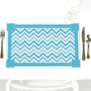 Chevron Blue - Party Table Decorations - Party Placemats - Set of 12