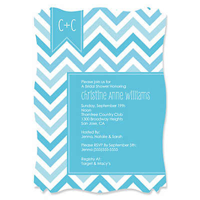 chevron blue personalized bridal shower invitations bigdotofhappinesscom