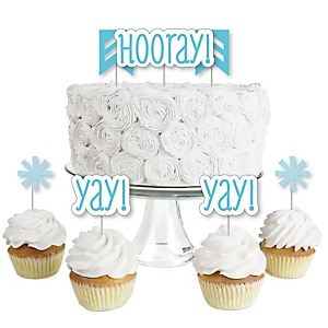 Chevron Blue - Dessert Cupcake Toppers - Baby Shower or Birthday Party Clear Treat Picks - Set of 24