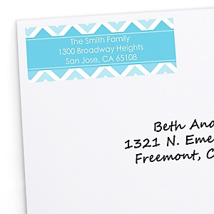 Chevron Blue - Personalized Party Return Address Labels - 30 ct