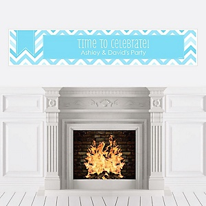 Chevron Blue - Personalized Party Banners