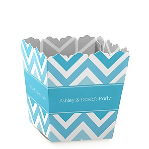 Chevron Blue - Party Mini Favor Boxes - Personalized Party Treat Candy Boxes - Set of 12