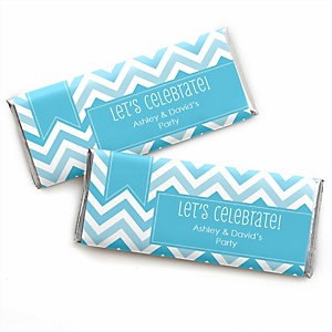 Chevron Blue - Personalized Candy Bar Wrappers Party Favors - Set of 24