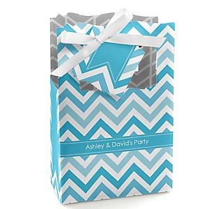 Chevron Blue - Personalized Party Favor Boxes - Set of 12