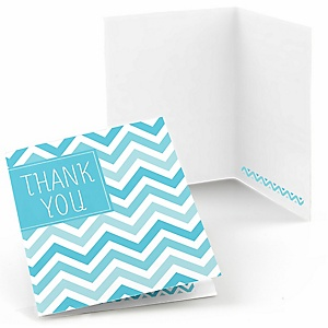 Chevron Blue - Party Thank You Cards - 8 ct