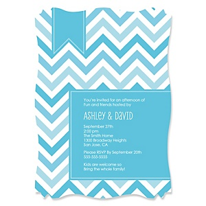 Chevron Blue - Personalized Party Invitations - Set of 12