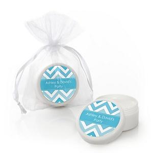 Chevron Blue - Personalized Party Lip Balm Favors - Set of 12