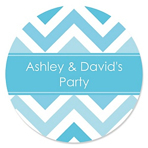 Chevron Blue - Personalized Party Sticker Labels - 24 ct