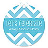 Chevron Blue - Round Personalized Everyday Party Tags - 20 ct