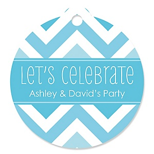 Chevron Blue - Round Personalized Party Tags - 20 ct