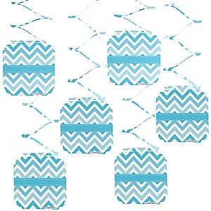 Chevron Blue - Baby Shower Hanging Decorations - 6 ct