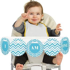Chevron Blue 1st Birthday - I am One - First Birthday High Chair Banner