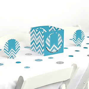 Chevron Blue - Baby, Bridal Shower or Birthday Party Centerpiece and Table Decoration Kit