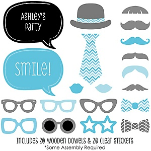 Chevron Blue - 20 Piece Photo Booth Props Kit