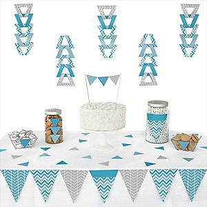 Chevron Blue -  Triangle Party Decoration Kit - 72 Piece