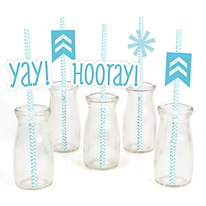 Chevron Blue - Paper Straw Decor - Baby Shower or Birthday Party Striped Decorative Straws - Set of 24