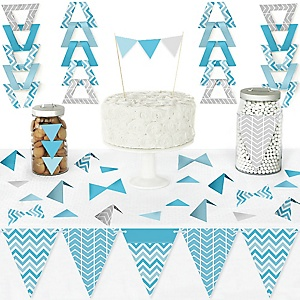 Chevron Blue - DIY Pennant Banner Decorations - Baby, Bridal Shower or Birthday Party Triangle Kit - 99 Pieces