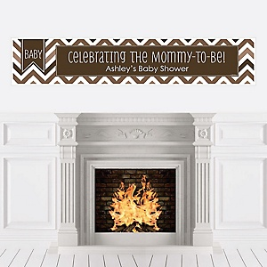 Chevron Brown - Personalized Baby Shower Banners