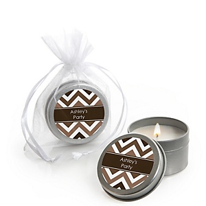 Brown Chevron - Candle Tin Personalized Baby Shower Favors