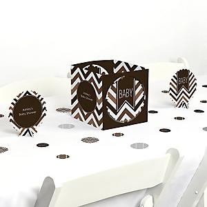 Chevron Brown - Baby Shower Centerpiece & Table Decoration Kit
