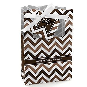 Chevron Brown - Personalized Baby Shower Favor Boxes