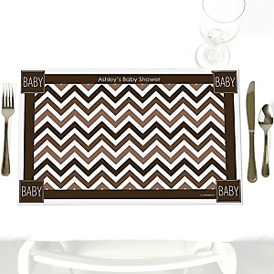 Chevron Brown - Personalized Baby Shower Placemats