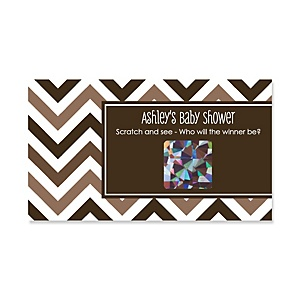 Chevron Brown - Personalized Baby Shower Game Scratch Off Cards - 22 ct