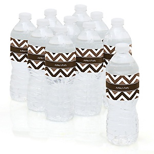 Chevron Brown - Personalized Party Water Bottle Sticker Labels - Set of 10