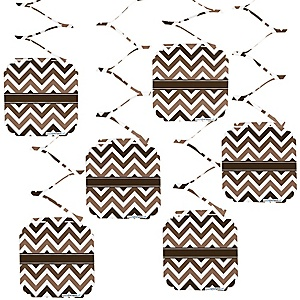 Chevron Brown - Party Hanging Decorations - 6 ct