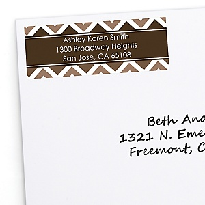 Brown Chevron - Personalized Baby Shower Return Address Labels - 30 Count