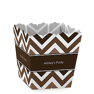 Brown Chevron - Personalized Baby Shower Candy Boxes