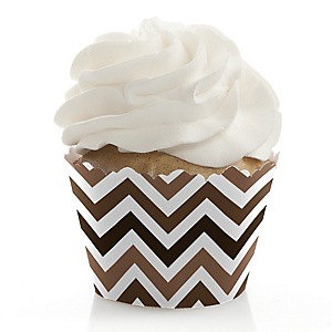 Chevron Brown - Party Cupcake Wrappers & Decorations