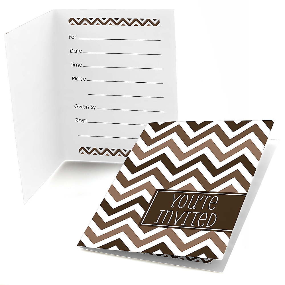 Chevron Brown - Fill in Party Invitations - 8 ct ...
