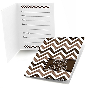 Brown Chevron - Fill In Baby Shower Invitations - Set of  8