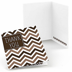 Chevron Brown - Party Thank You Cards - 8 ct