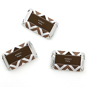 Chevron Brown - Personalized Mini Candy Bar Wrapper Sticker Label Party Favors - 20 ct