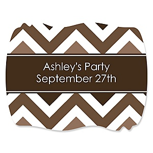 Chevron Brown - Personalized Party Squiggle Stickers - 16 ct
