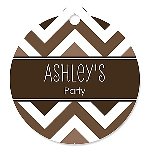 Chevron Brown - Round Personalized Party Tags - 20 ct