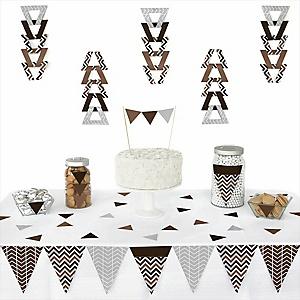Chevron Brown - 72 Piece Triangle Party Decoration Kit