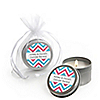 Chevron Gender Reveal - Personalized Baby Shower Candle Tin Favors - Set of 12