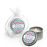 Gender Reveal Chevron - Candle Tin Personalized Baby Shower Favors