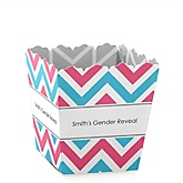 Chevron Gender Reveal - Personalized Baby Shower Candy Boxes